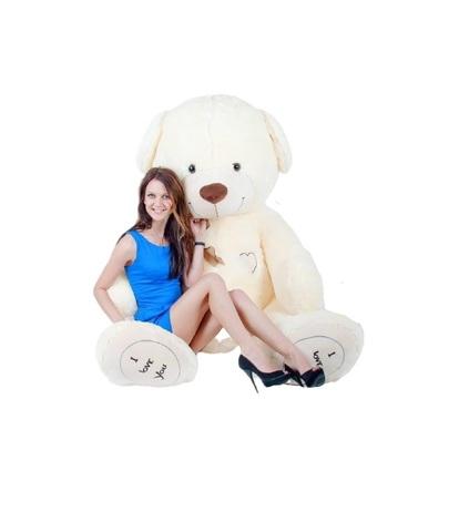 Игрушка Плюшевый медведь Феликс I Love You 190 см. Молочный