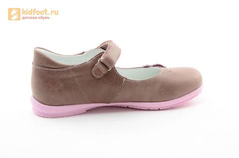 Туфли Тотто из натуральной кожи на липучке для девочек, цвет ирис серобежевый, 10204B. Изображение 4 из 16.