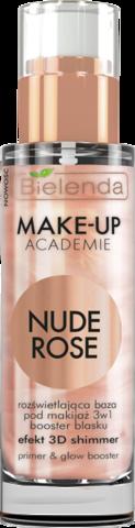 MAKE-UP ACADEMIE NUDE ROSE сияющая основа под макияж 3 в 1, 30 г