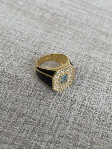 Кольцо Печатка черное, позолота