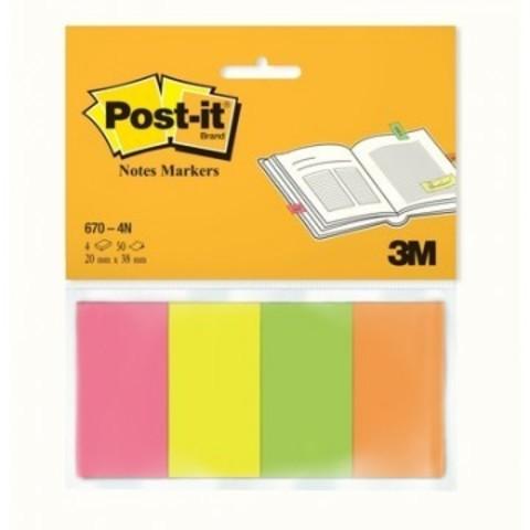 Клейкие закладки Post-it бумажные 4 цвета по 50 листов 20x38 мм