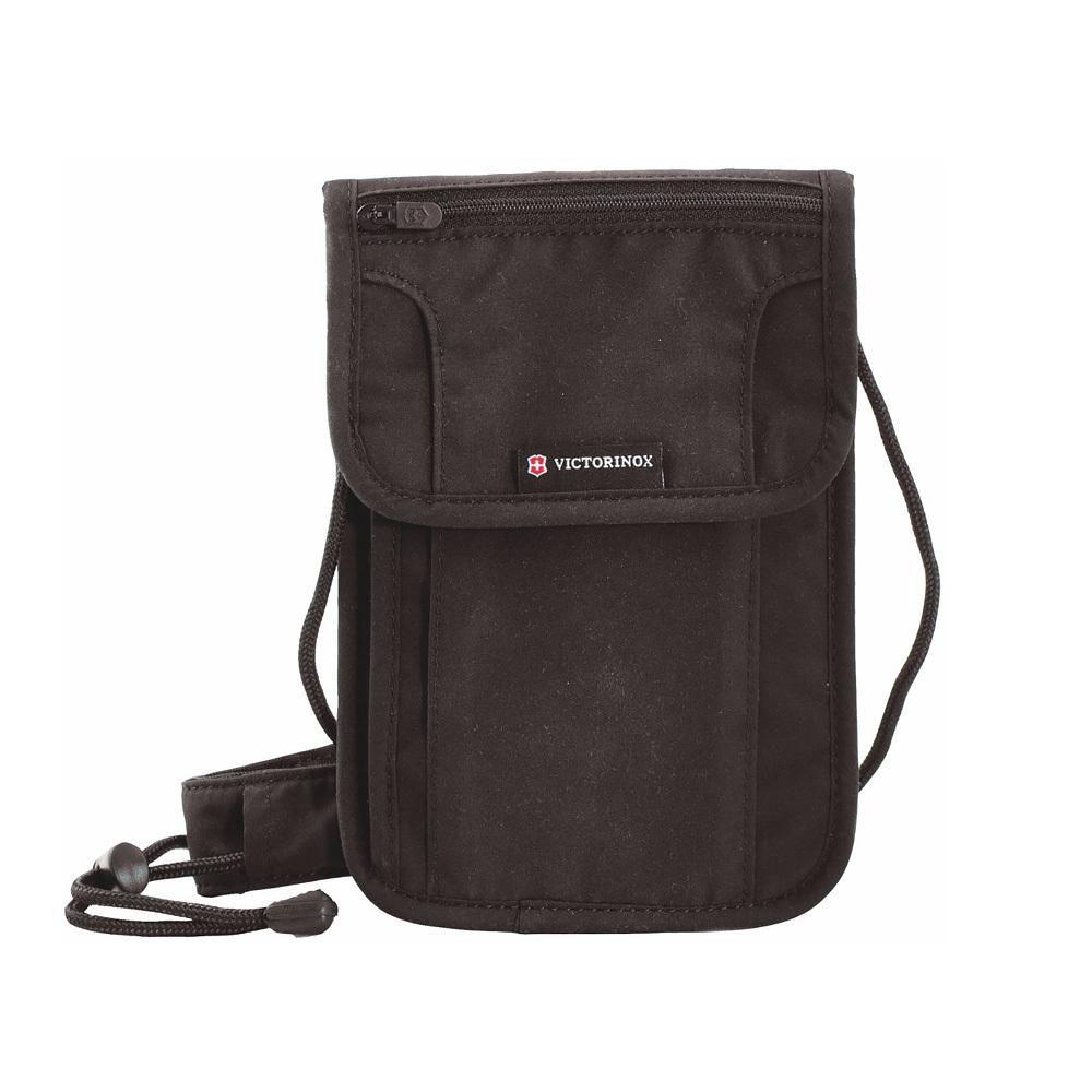 Нашейный кошелёк-органайзер Victorinox Deluxe с защитой RFID, цвет чёрный, полиэстер с бархатным покрытием, 21x14x1 см. (31171901)