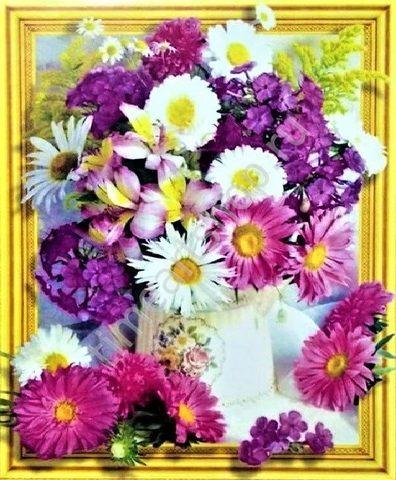 Алмазная Мозаика 5D 40x50 Яркий букет разноцветных цветов