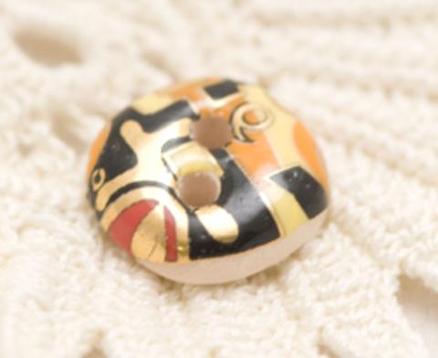 Пуговица керамическая с абстрактными узорами, цвета лимонный, красный, чёрный, оранжевый, маленькая, размер 10 мм