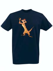 Футболка с принтом мультфильма Король лев (The Lion King, Тимон) темно-синяя 003