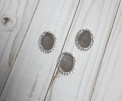 Основа-рамка для кабошонов со стразами Овальная, 2,5*3,2 см, 1 шт, металлическая..