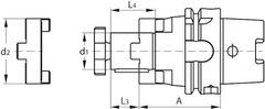 Комбинированная оправка для насадной фрезы HSK-A 63 A = 100