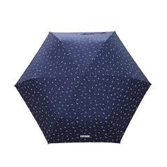 Ультра легкий зонт - карандаш с защитой от ультрафиолета (синий, цветочный принт)
