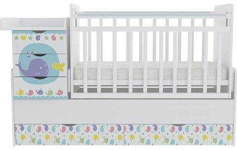 Кроватка детская ФЕЯ 1150 Морская история, белый