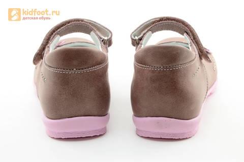 Туфли Тотто из натуральной кожи на липучке для девочек, цвет ирис серобежевый, 10204B. Изображение 8 из 16.