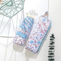 Японский миниатюрный плоский зонт с защитой от УФ, 6 спиц (цветочный принт, розовый/голубой)