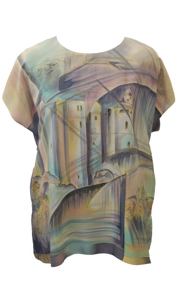 Шелковая блузка батик Мокрый город П-182