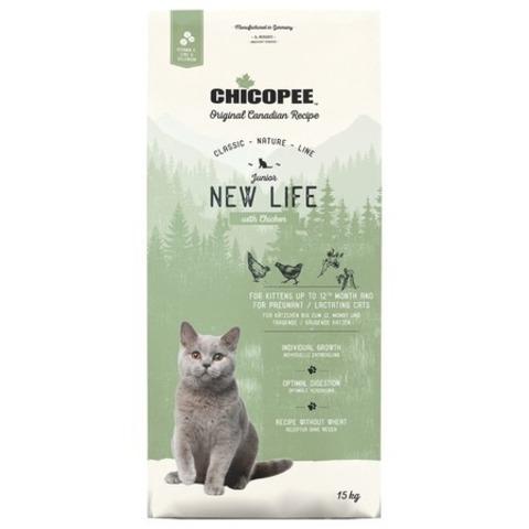 15 кг. Chicopee CNL Cat Junior New Life сухой корм для котят с курицей