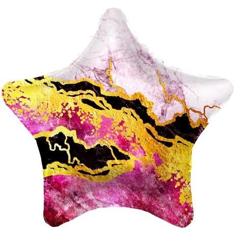 Воздушный шар Звезда, мрамор, розовый, 46 см