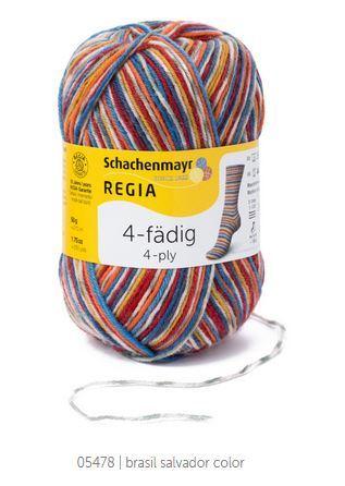Пряжа Schachenmayr Regia 4-fadig Color 05478 желтый/красный/оливковый/синий