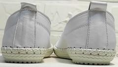 Мокасины кроссовки белые женские кожаные Rozen 115 All White.