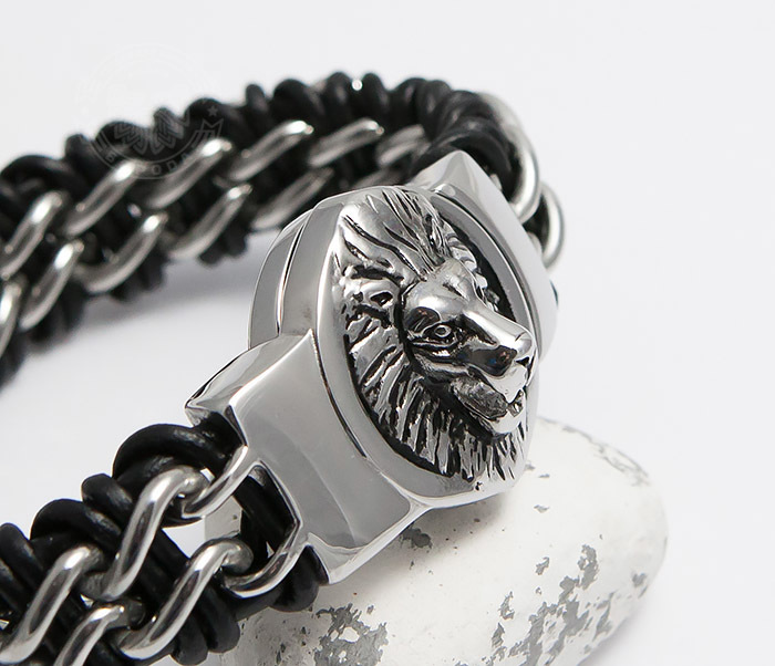 BM483 Мужской браслет со львом из стали и кожи (20 см) фото 09