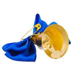 Колокольчик выпускной с темно-синей бабочкой