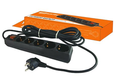 Сетевой фильтр СФ-05В выключатель, 5 гнезд, 5 метров, с заземлением, ПВС 3х1мм2 16А/250В TDM