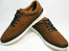 Мужские повседневные кроссовки Vitto Men Shoes 1830 Brown White