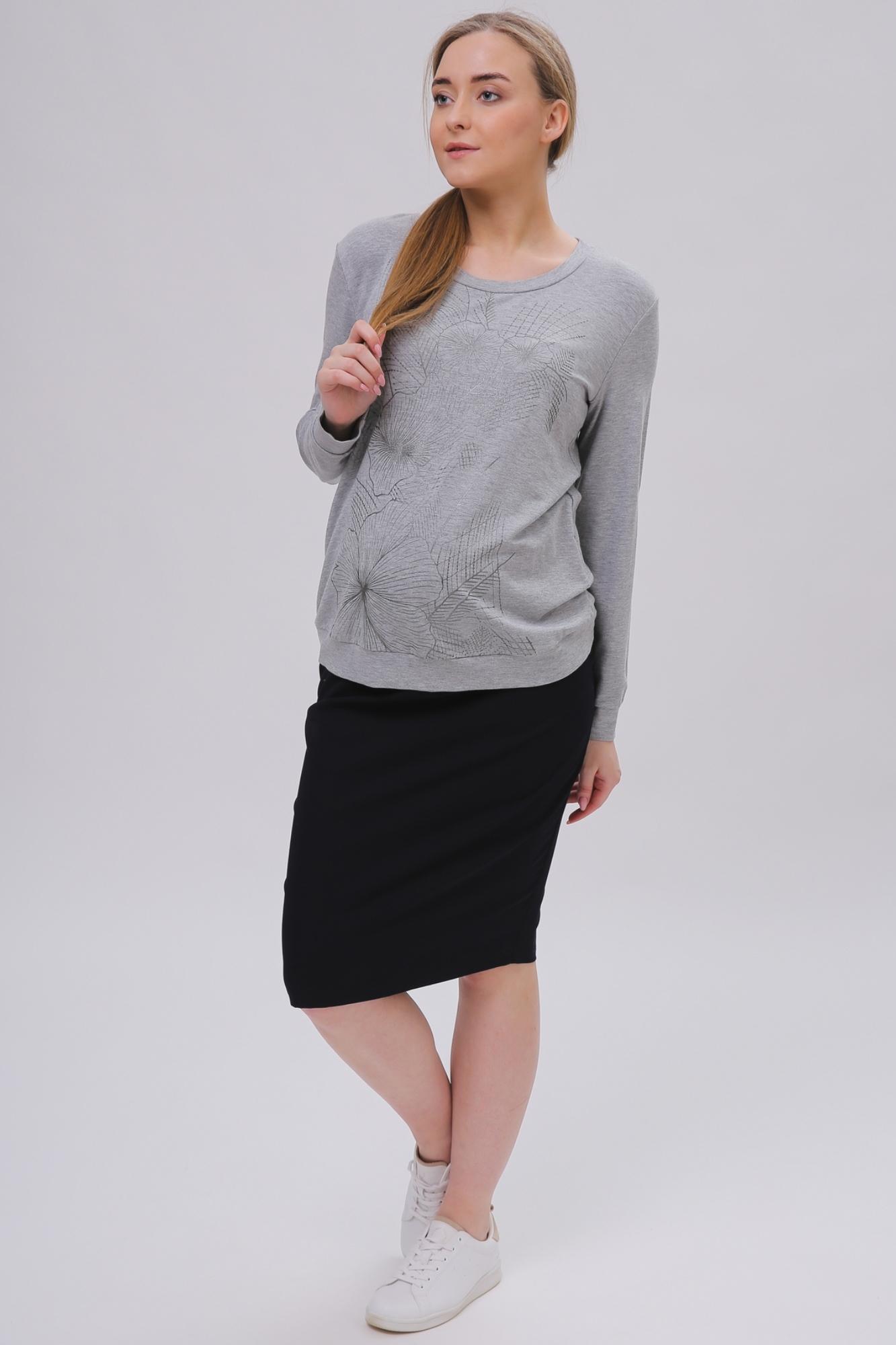 Свитшот для беременных 09007 серый