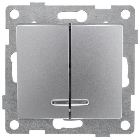 Выключатель двухклавишный с подсветкой, 10 А 220/250 В~. Цвет Серебро. Bravo GUSI Electric. С10В28-004