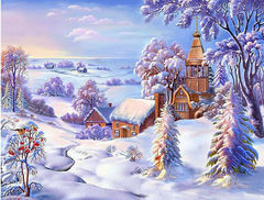 Картина раскраска по номерам 50x65 Деревушка зимой