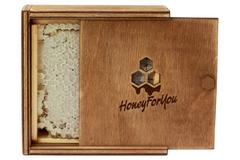 Мед в сотах HoneyForYou в подарочном деревянном пенале