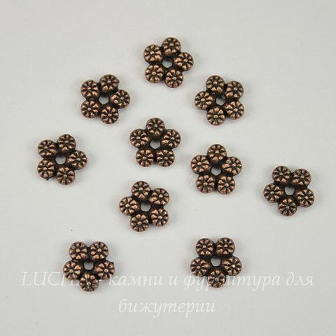"""Бусина металлическая """"Цветы"""" (цвет - античная медь) 7 мм, 10 штук"""