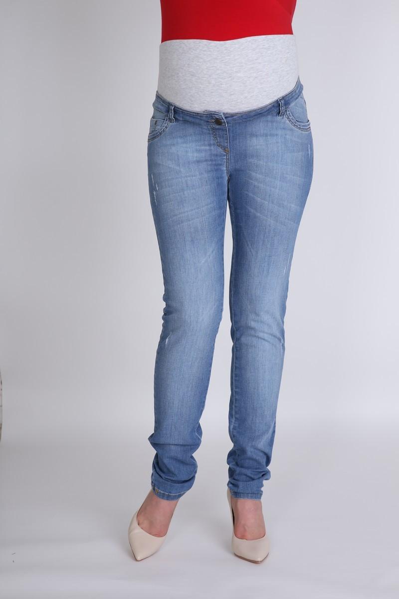 Фото джинсы для беременных MAMA`S FANTASY, зауженные, средняя посадка, высокая трикотажная вставка от магазина СкороМама, синий, размеры.