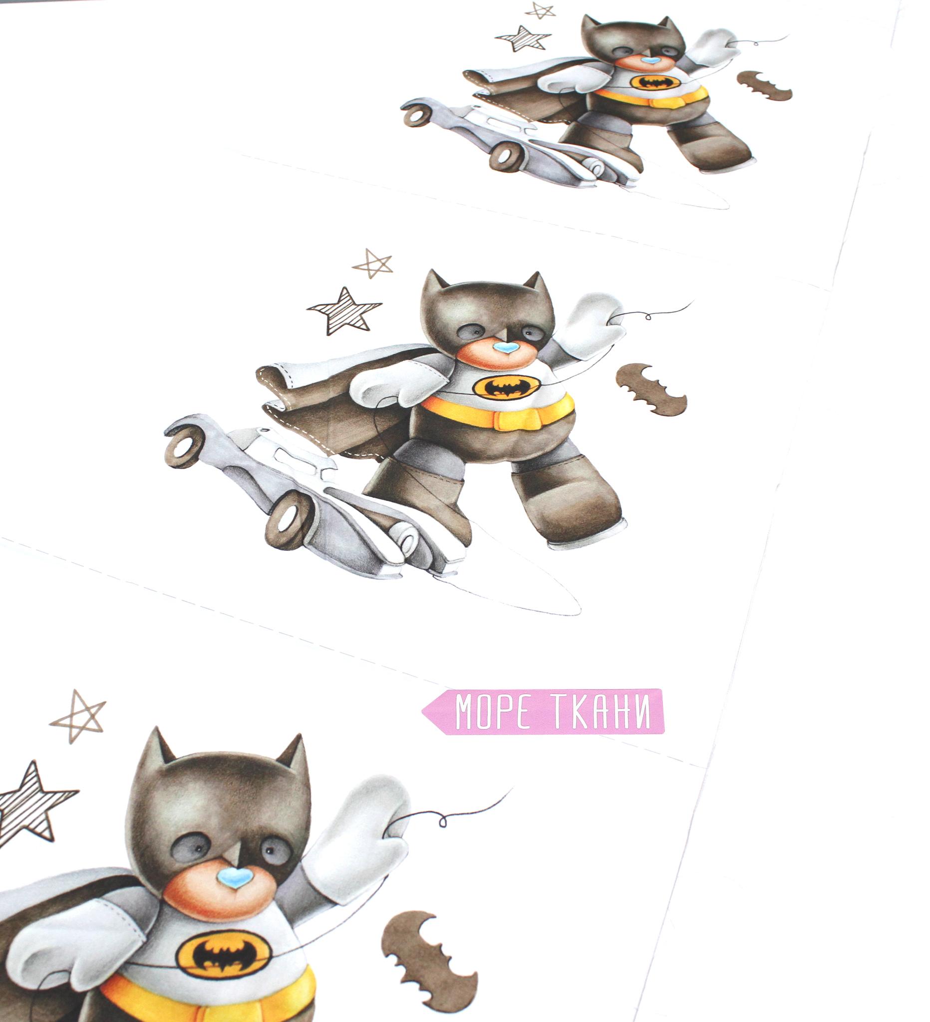 Панель(купон)мишка-бэтмен-35*35 см, 4 шт.