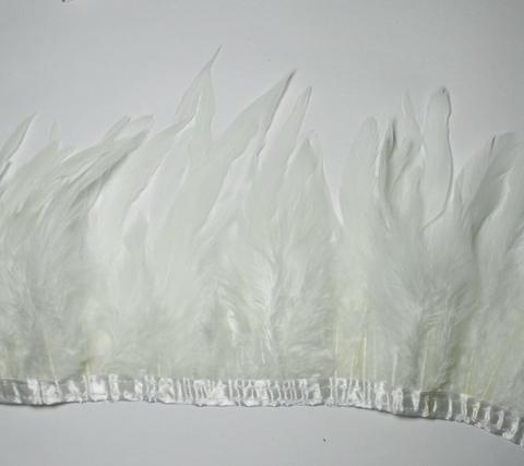 Тесьма  из перьев петуха h-15-18 см.,белый