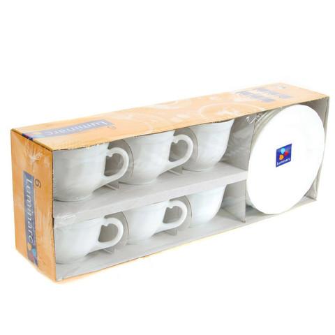 Сервиз чайный Luminarc Трианон 220 мл белый на 6 персон (артикул производителя E8845)