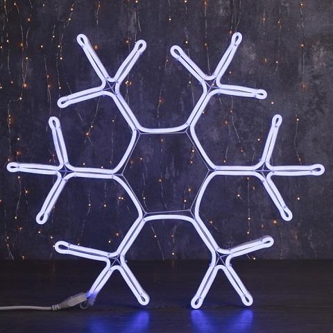 Снежинка светодиодная d-60 см. Фигура из гибкого неона. Синяя