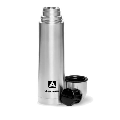 Термос Арктика (1 литр) с узким горлом классический, стальной, наклейка
