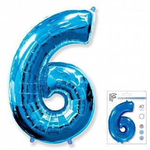 Цифра шесть - синий