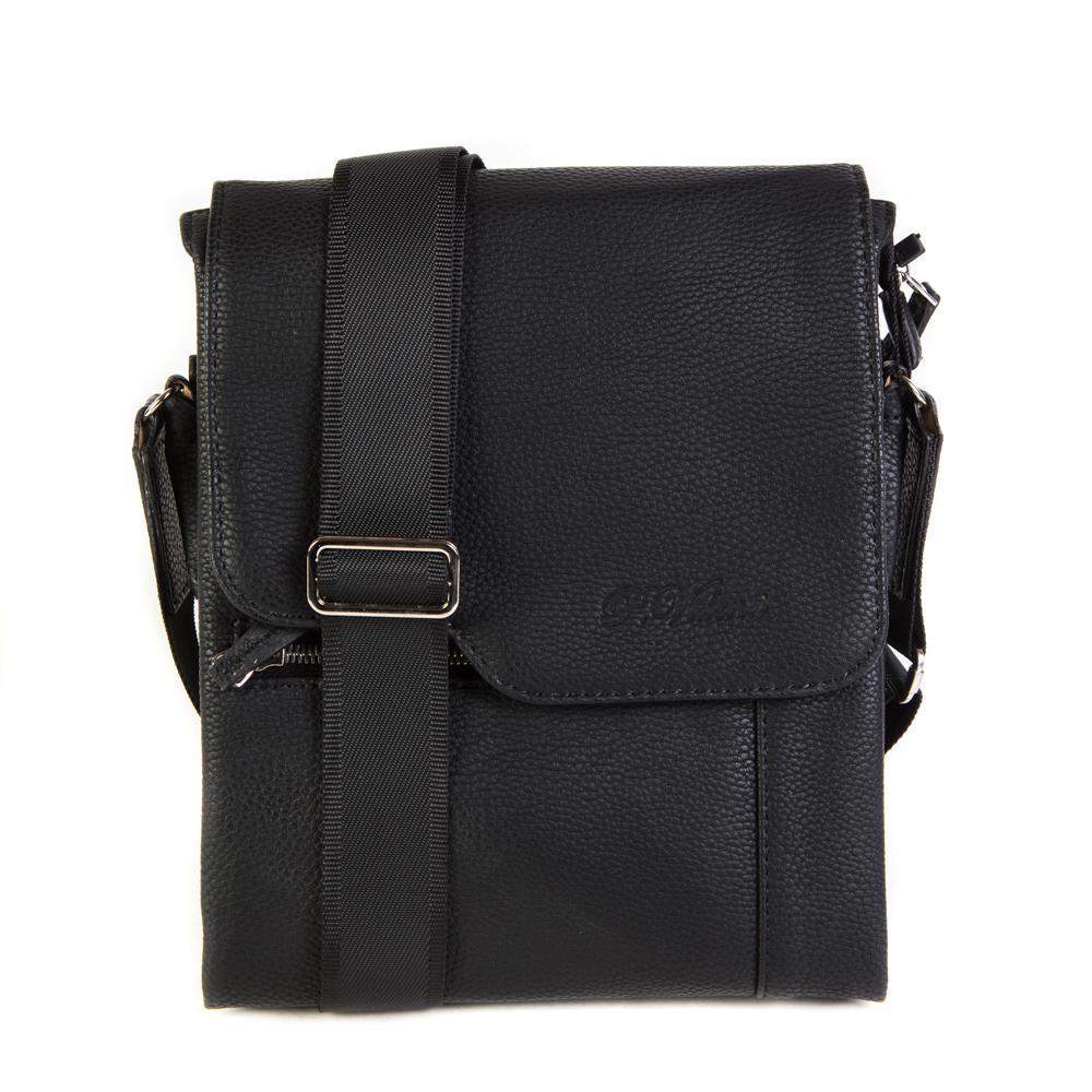 Фото мужская сумка на плечо чёрная из искусственной кожи 21х26х4 см Paulo Valenti TK111