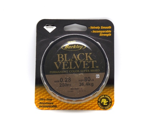 Плетеная леска Berkley Black Velvet Черная 250 м. 0,28 мм. 36,4 кг. (1345403)