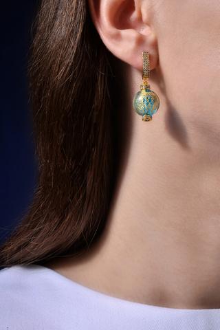 Серьги из муранского стекла со стразами Daniella Ca'D'oro Medio Blue Gold