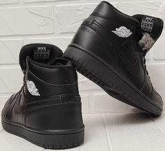 Высокие кроссовки зимние мужские Nike Air Jordan 1 Retro High Winter BV3802-945 All Black
