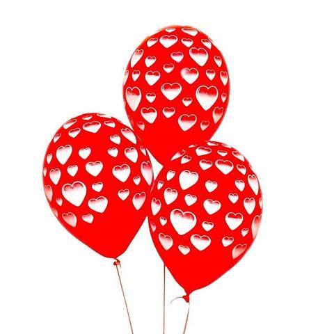 Воздушные шары с гелием красные с белыми сердцами, 36 см