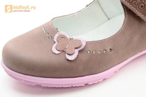 Туфли Тотто из натуральной кожи на липучке для девочек, цвет ирис серобежевый, 10204B. Изображение 13 из 16.