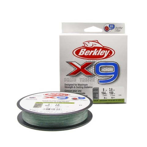 Плетеная леска Berkley X9 150 м. Темно-зеленая 0,10 мм. 3,6 кг.