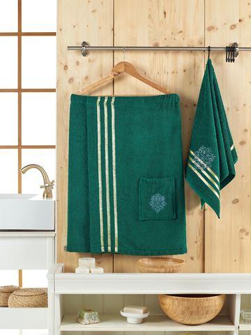 Набор для сауны махровый мужской  JUANNA 2 предмета SEVAKIN цвет темно-зеленый