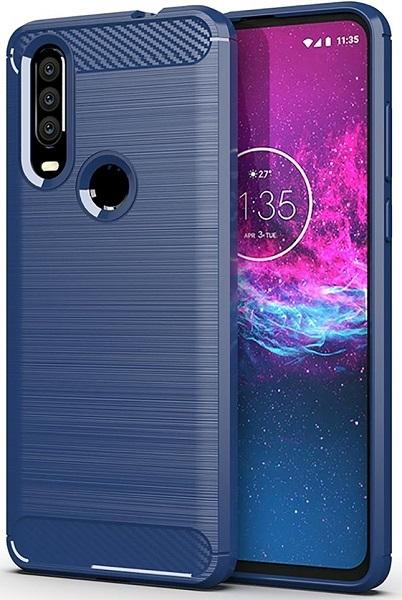 Чехол для Motorola Moto One Action (P40 Power) цвет Blue (синий), серия Carbon от Caseport