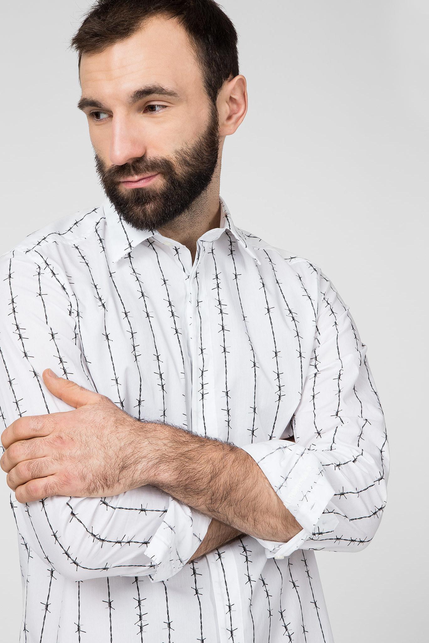 Мужская белая рубашка c принтом S-BARBWI Diesel