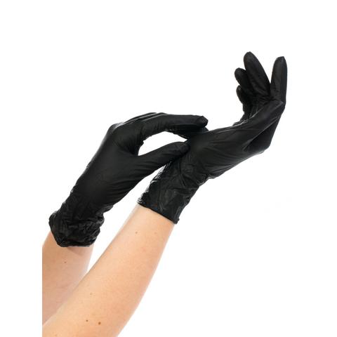 Мед.смотров. перчатки нитрил. н/с. н/о текстур NitriMax,черн (L) 50 пар/уп