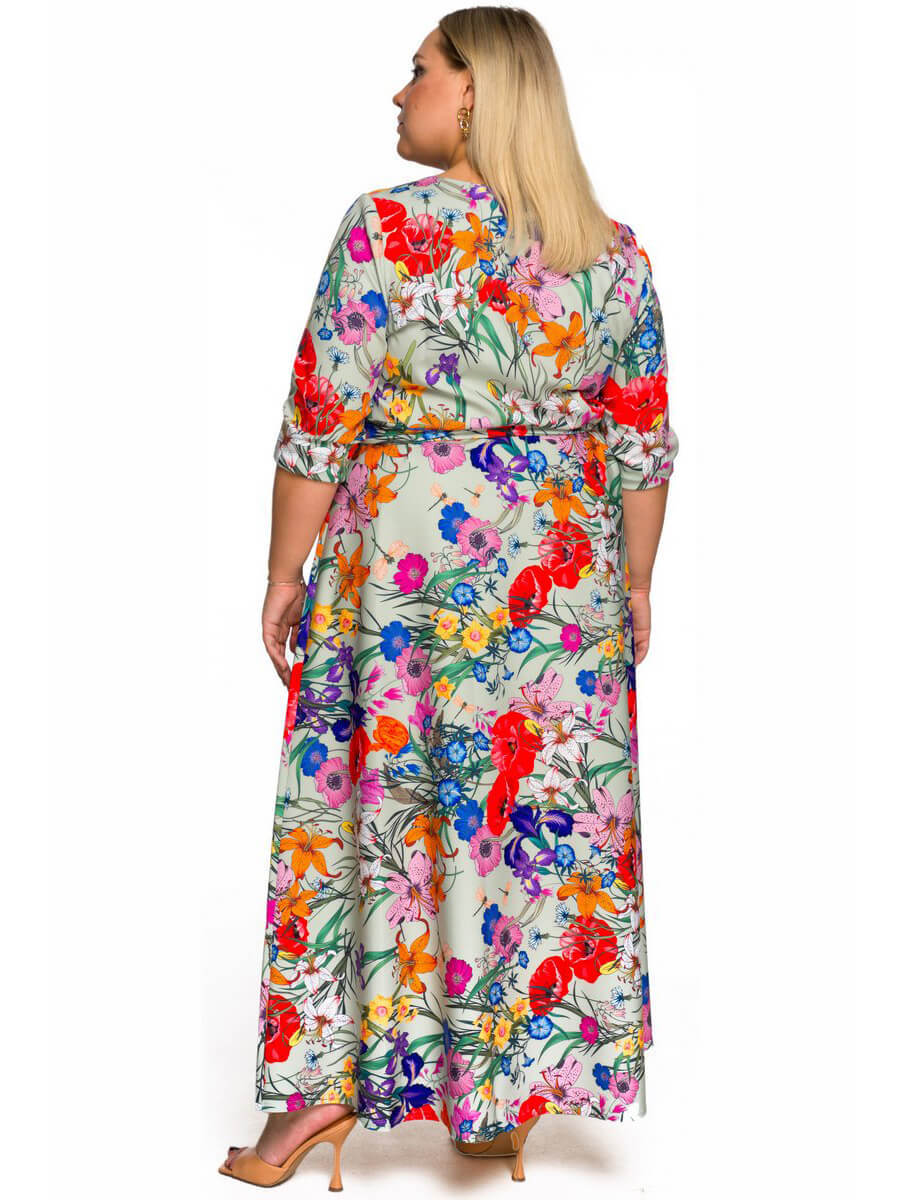 Длинное платье из крепа мятное