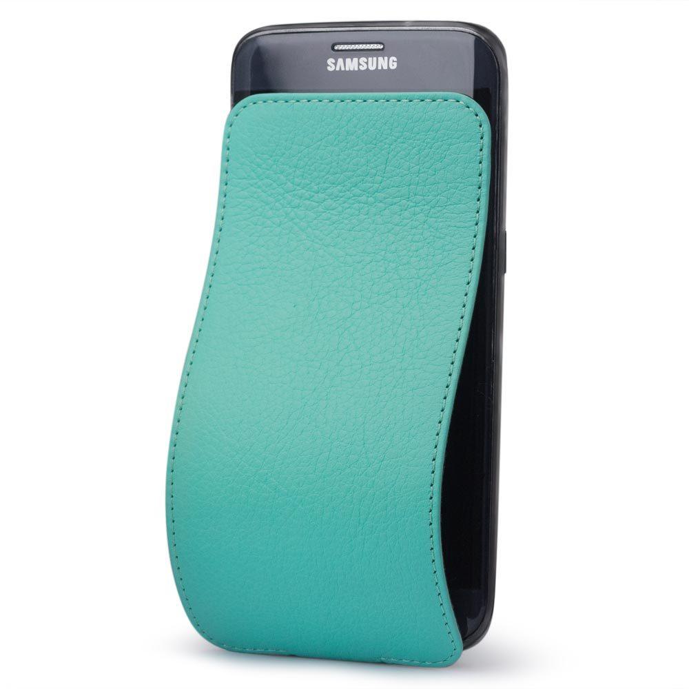 Чехол для Samsung Galaxy S7 edge из натуральной кожи теленка, цвета тиффани