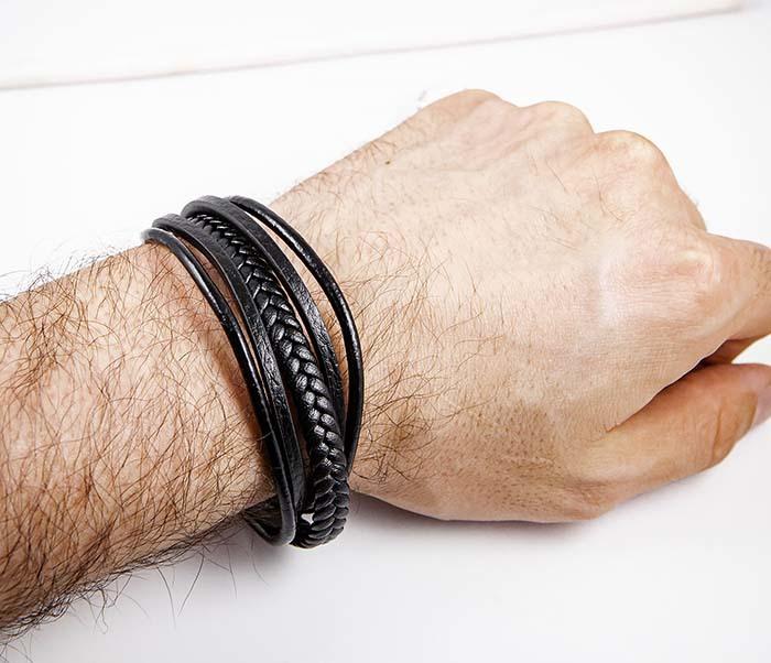 BM593 Мужской браслет из черных кожаных шнуров фото 06